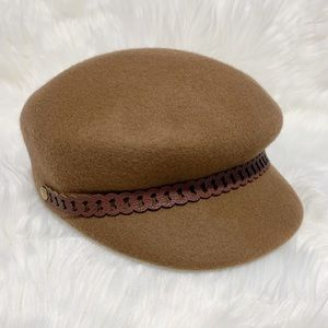 Nine West Dark Brown Wool Newsboy Cap